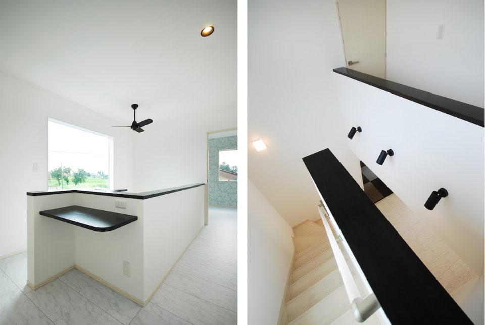 階段上には、カウンターをつけてちょっとした作業ができるフリースペースに