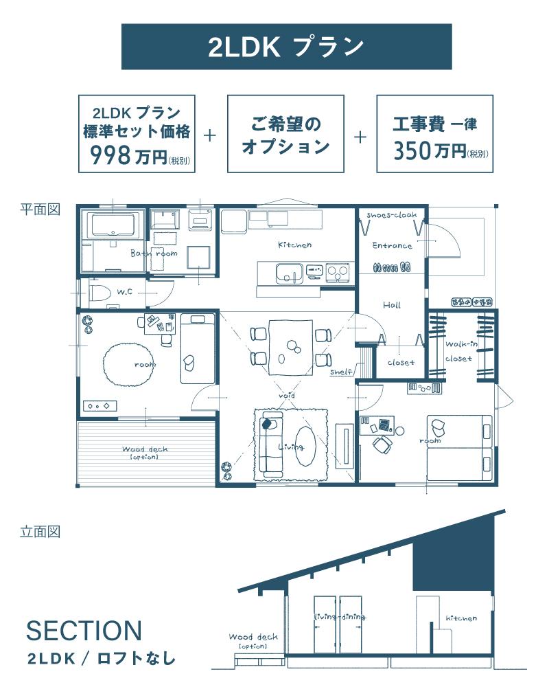 ヨハコ平屋2LDKプラン998万円より